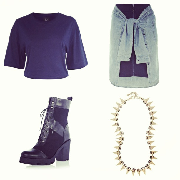 RIHANNA FOR RIVER ISLAND OUTFIT LOOKBOOK PREVEIW OUTFIT OF THE DAY OOTD RIHANNAFORRIVERISLAND NAVY CROP TOP ZIP FRONT SKIRT WITH DENIM SHIRT DETAILL LACE FRONT BOOTS CROP TOP SPIKE NECKLACE