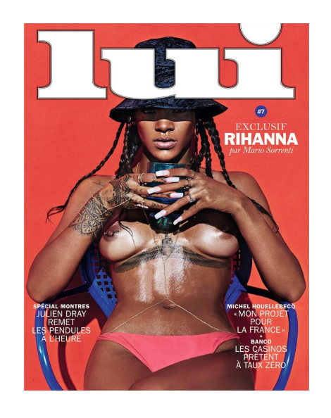 Rihanna lii magazine cover by Mario Sorrenti for Lui Magazine topless boobs naked