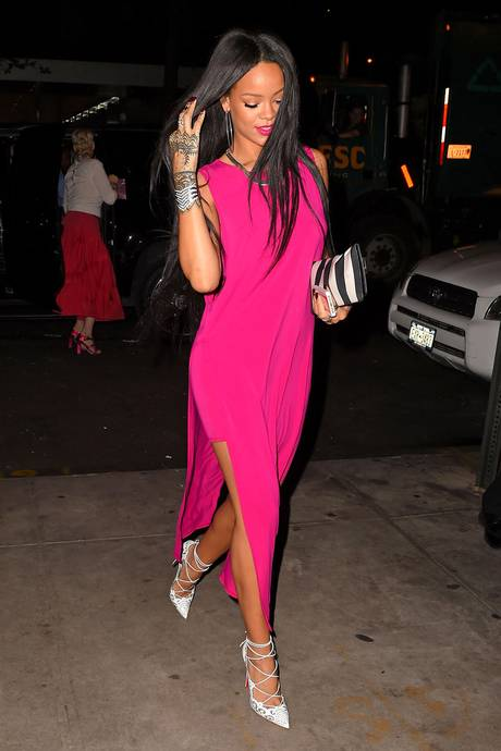 Rihanna pink dress helmut lang get the look august 2014 new york dinner date celebrity style
