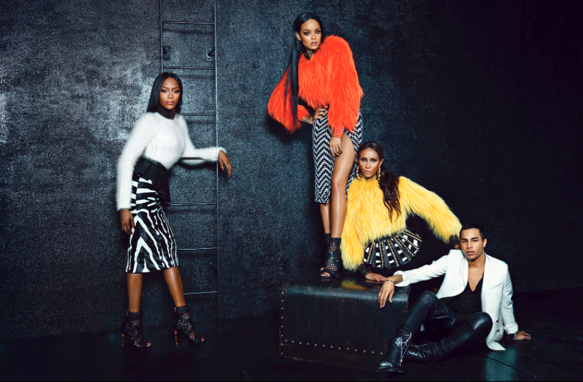 Rihanna iman naomi campbell w magazine wild black models women supermodel balmain oliver rousteing