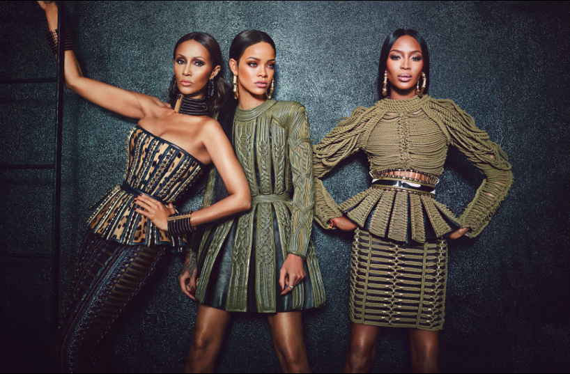 Rihanna iman naomi campbell w magazine wild black models women supermodel balmain oliver rousting phresh out the runway