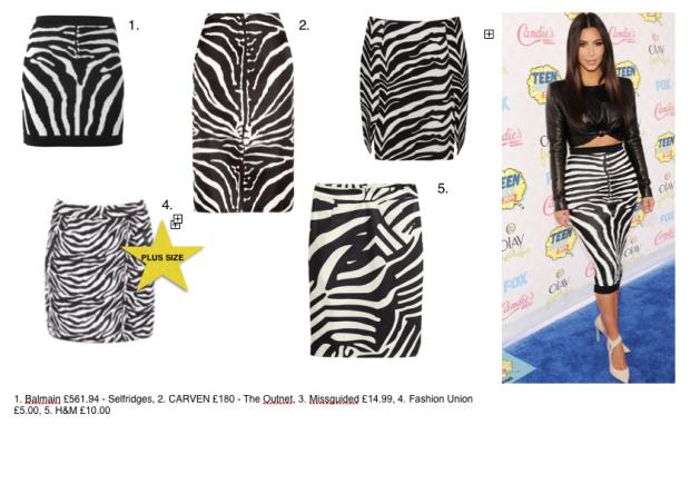 kim kardashian balmain zebra teen choice awards 2014 get the look kendall kylie jenner sisters