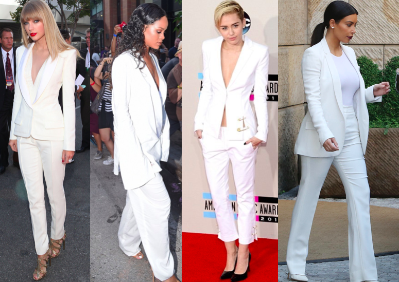 Rihanna British fashion awards miley cyrus kim kardashian taylor swift blank space white suit two piece androgyny minimal river island get the look