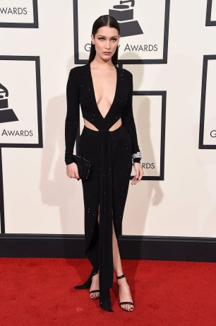 Bella Hadid wearing Alexandre Vauthier at Grammys red carpet 2016 /The 58th GRAMMY Awards