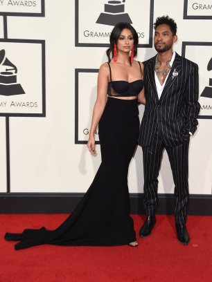 Miguel Fiance Nazanin Mandi wearing Alexandre Vauthier at Grammys red carpet 2016 /The 58th GRAMMY Awards